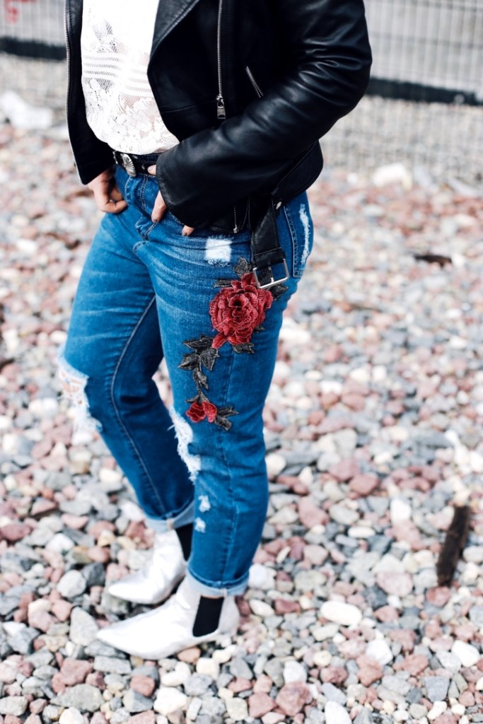 embroidered boyfriend jeans styled by Christine Bennett of moxiefashionblog.com