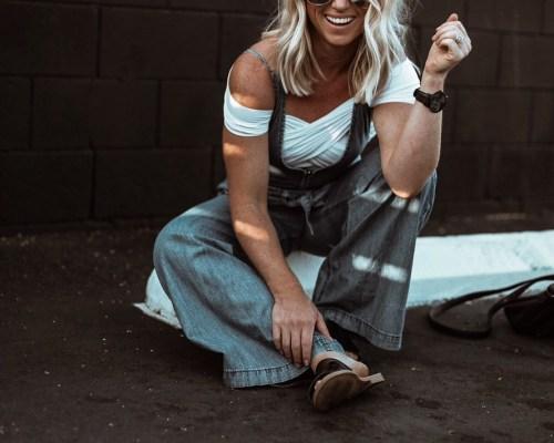 denim jumpsuit by Christine Bennett of Moxie Fashion Blog