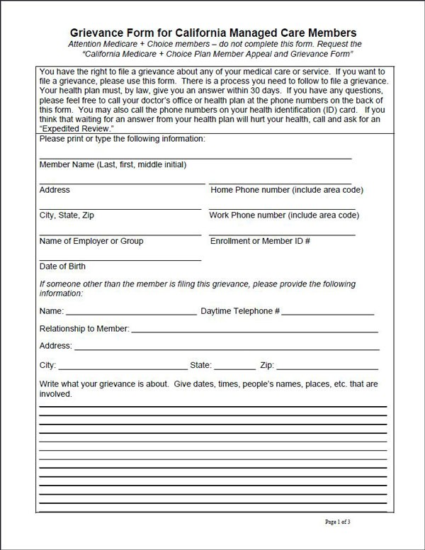 MPMG Medicare Appeal  Grievance Form