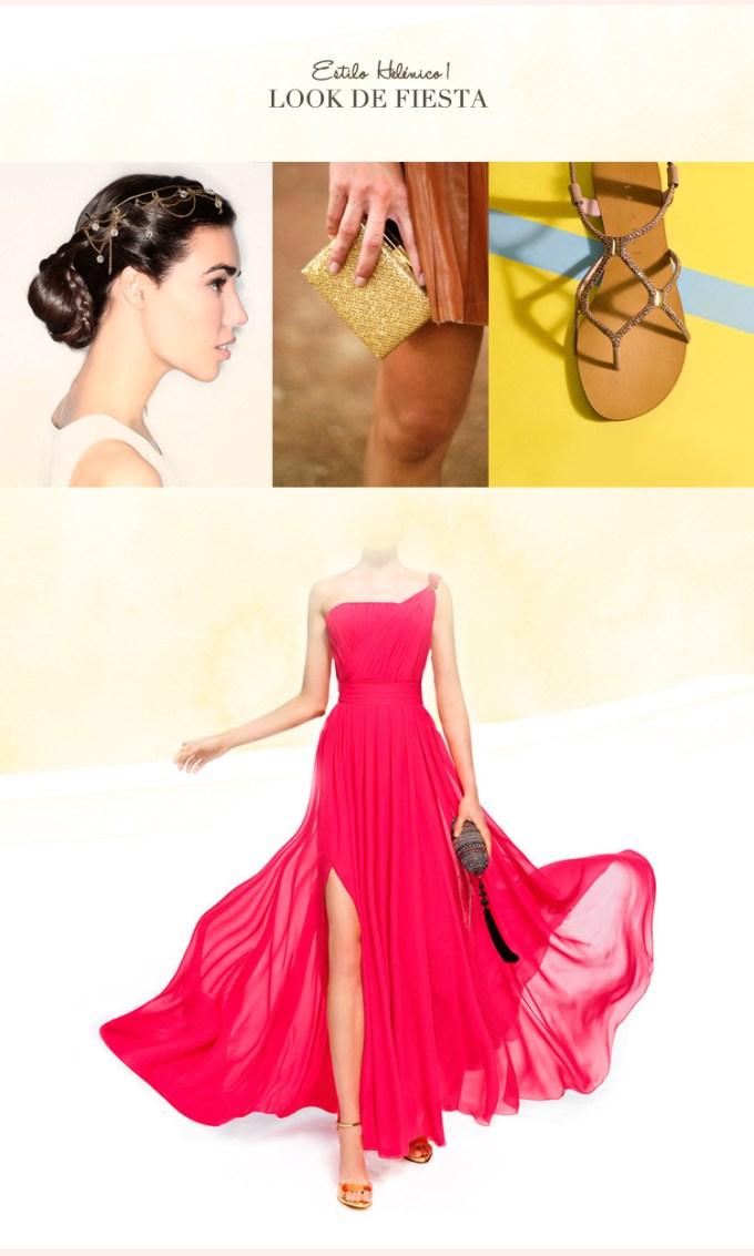 Looks de invitada para una boda de noche con vestido de corte helenico y comeplementos dorados