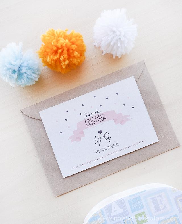 tarjetas de bienvenida para bebés - Diseño personalizado