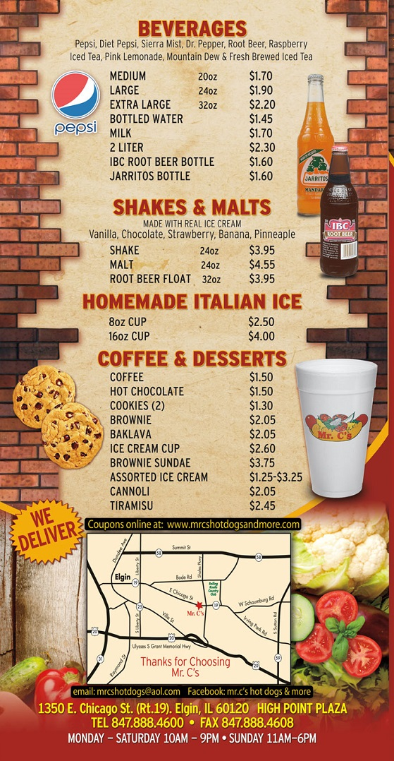 Restaurant Menu Drinks - Italian Ice - Shakes - Dessert - italian menu