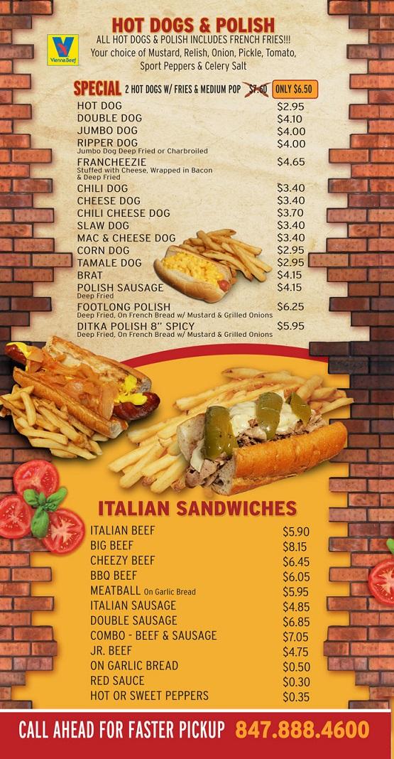 Restaurant Menu Hot Dogs - Italian Sandwiches