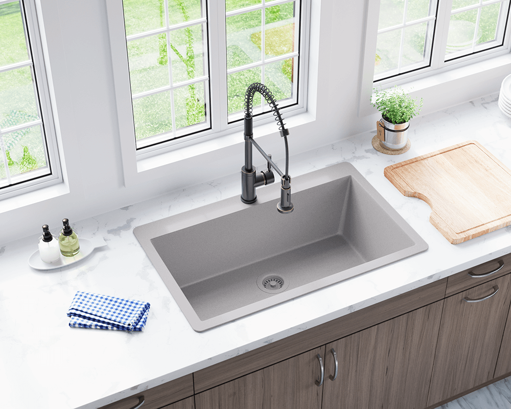 silver large single bowl undermount trugranite kitchen sink single bowl kitchen sink Silver Single Bowl Undermount TruGranite Sink