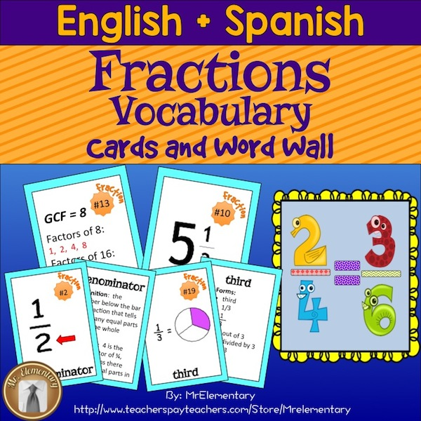 Fractions Trading Cards and Word Wall - Mr Elementary - vocab cards