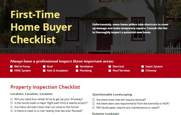 First-Time Home Buyer Checklist With the excitement of buying a - buyer home inspection checklist