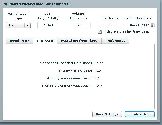 Mr Malty Pitching Calculator - The Dry Yeast Tab