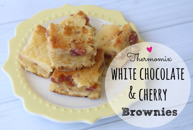 thermomix white chocolate and cherry brownies