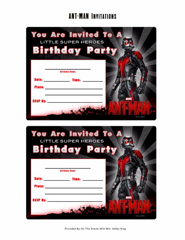 Free Marvel Ant-Man Printable Birthday Invitation Templates