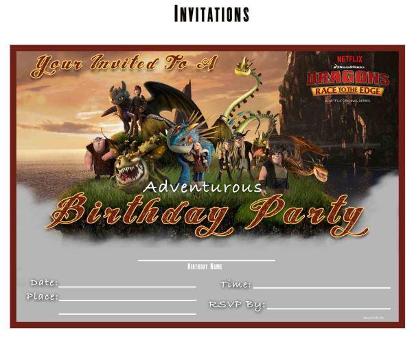 Free Dragons Race to the Edge Printable Birthday Invitation