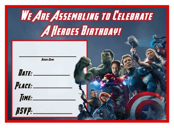 Free Avengers Age of Ultron Printable Birthday Invitation Templates