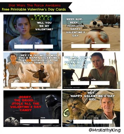 Free Star Wars #TheForceAwakens Printable Valentine\u0027s Day Cards