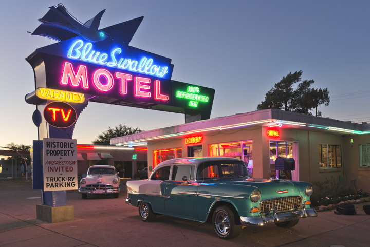 Neon Car Theme Wallpaper Photograph Of Blue Swallow Motel 6 Route 66 Photography