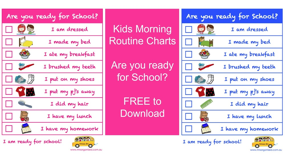 Kids Morning Routine Charts \u2026 Are you Ready for School? \u2026 Free to