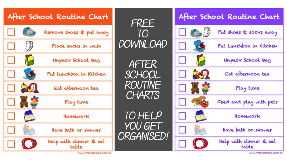 After School Routine Charts to Help you Get Organised \u2026 FREE to
