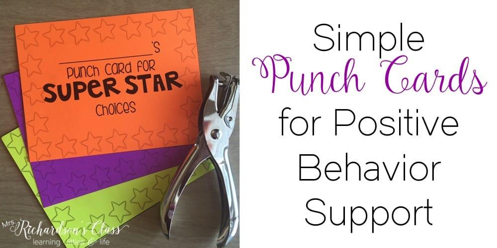 Simple Punch Cards for Positive Behavior Support - Mrs Richardson\u0027s - punch cards