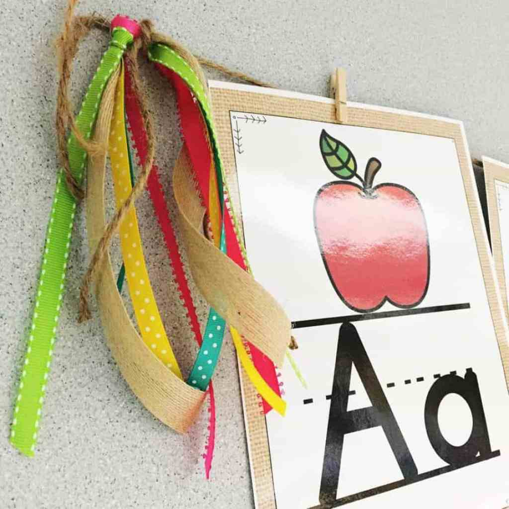 Ribbon tassels are simple to make and add a nice pop of color to the end of number lines and alphabet lines!