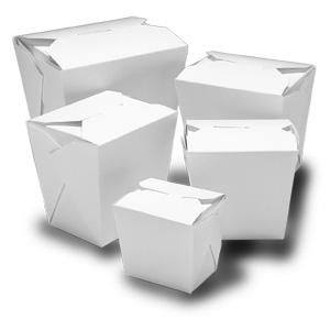 Foldpak White Large Microwavable Chinese Take Out Boxes