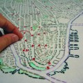 Liz Kueneke Manhattan embroidered social history map