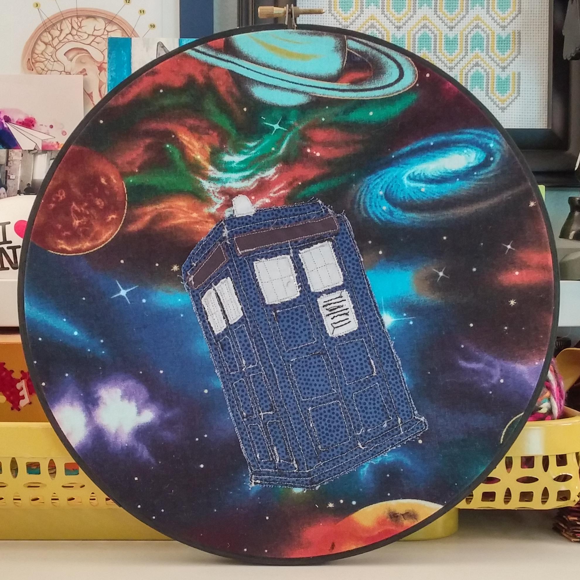 Teresa Millies' TARDIS hand embroidery