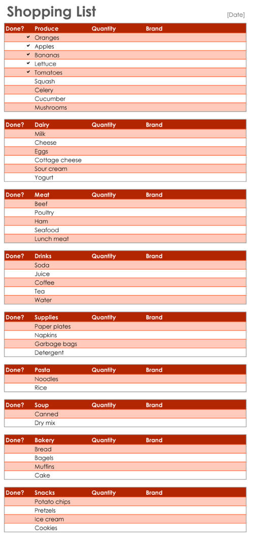 Free Printable Shopping List Template Excel