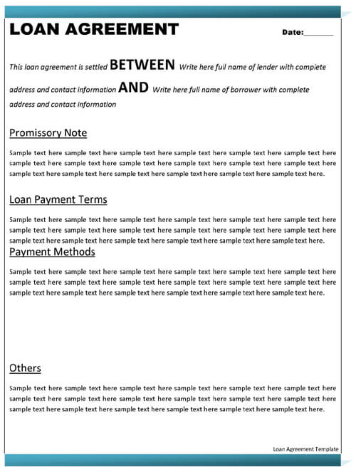 Free Sample Loan Agreement Template Word