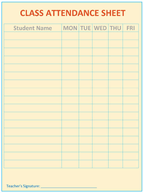 Printable Attendance Sheet Template Word - attendance sheet template word
