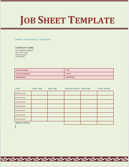 Job Sheet Example Example Jobsheet Tsoft (Uk) - Jobs - Jobs - printable sign up sheet template