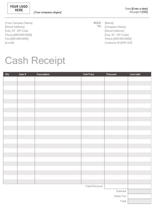 Printable Cash Receipt Template Word Doc