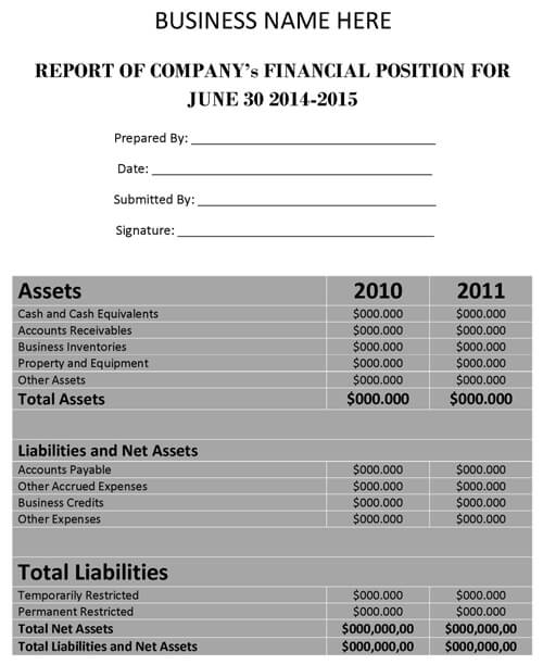 Financial Report Template Word - financial report templates