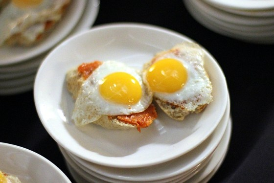 Quail eggs and Sobrasada from El Celler de Can Roca in Spain