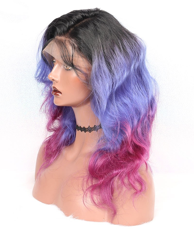 Luxury Natural Wave 1B/Purple/Pink Ombre Color 13x6 Lace Front Human