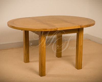 Msl Solid Wood Chunky Oak Round Extending Dining Table