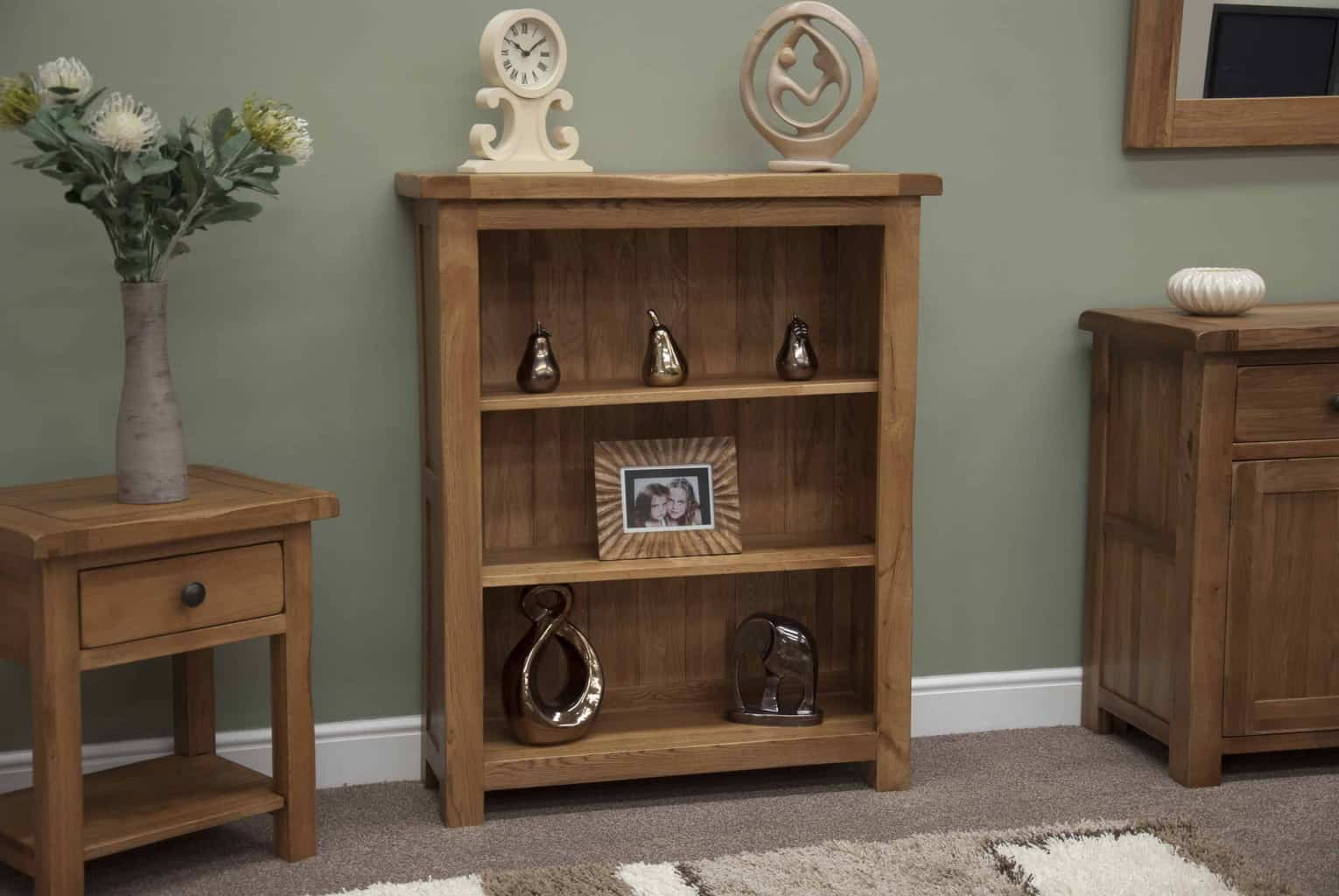 Homestyle Rustic Oak Small Low Bookcase Display Unit Msl