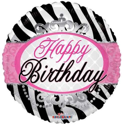 Birthday Zebra Print Foil Balloons