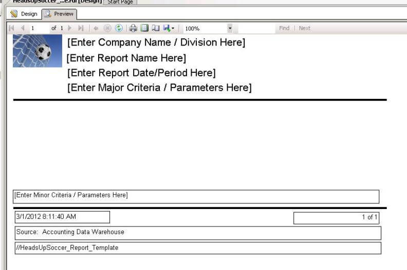 Creating a Reporting Service Report Template - template for a report