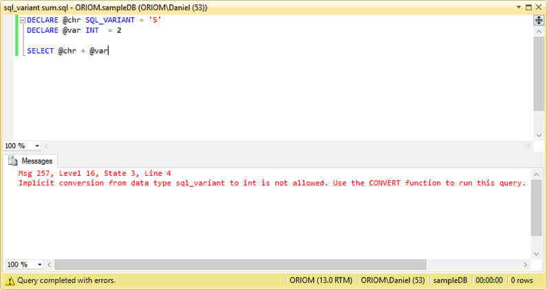 Overview of SQL Server sql_variant Data Type - sql convert
