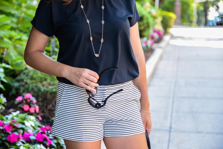 Summer Fashion: Striped shorts and a silky top