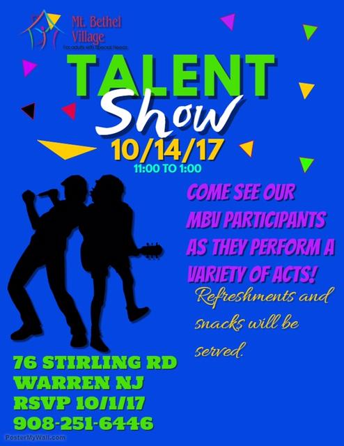 2017 Talent Show - Mt Bethel Village - talent show flyer