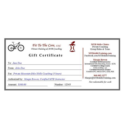 Gift Certificates \u2013 MTB Skills Training