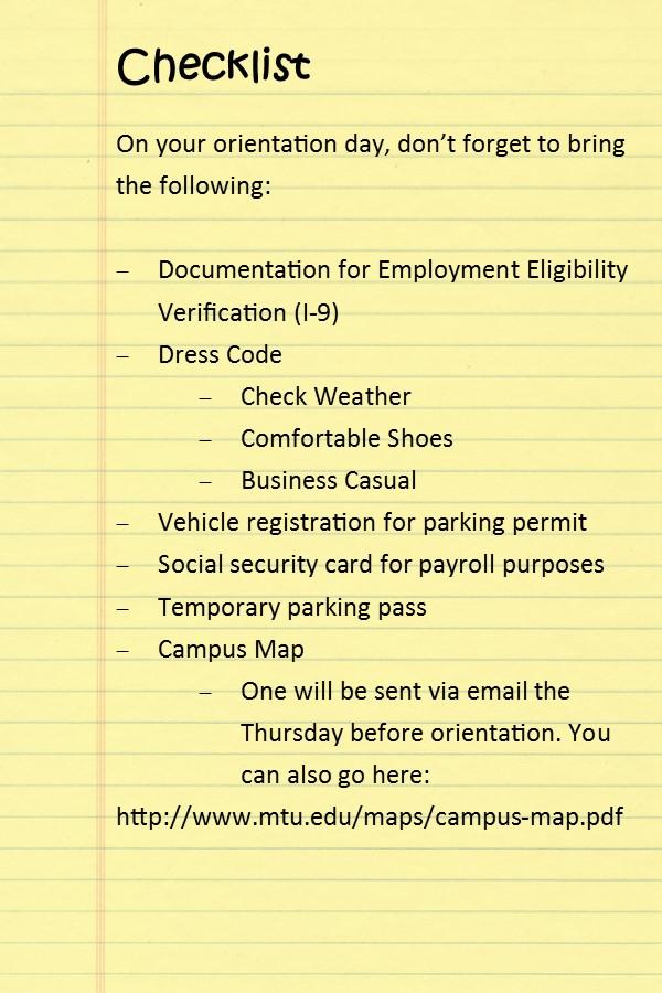 new employees checklist
