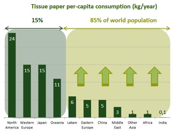 Cálculos en de Ence sobre el consumo de celulosa en el mundo. Espera que el consumo de los países emergentes aumente, pero no que se reduzca el de los países avanzados.