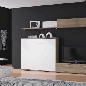 Cama abatible integrada en un mueble de salón