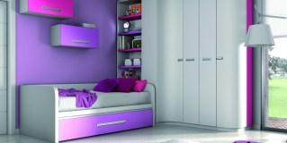 Habitación juvenil en tonos lilas y grises