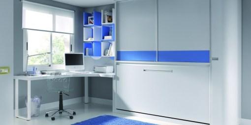 Habitación juvenil con cama abatible en tono gris y azul