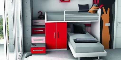 Original habitación juvenil provista de dos camas a modo de litera