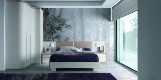 Dormitorio con armario a rincón kroma