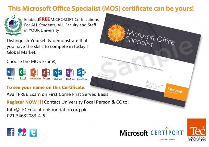 Free Microsoft Office Specialist Certifications Mehran University