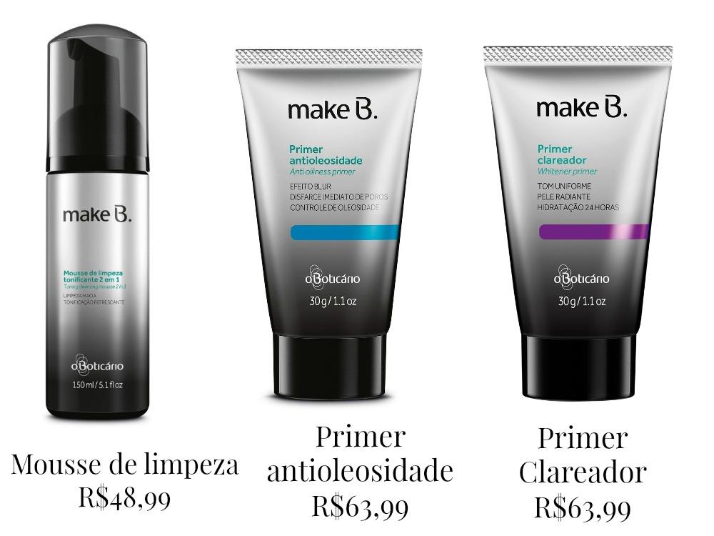 Produtos de pré-maquiagem da linha make B. Facial