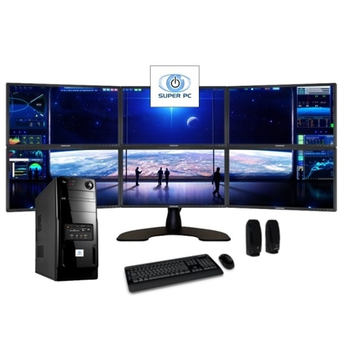 SUPER PC Six Monitor Computer and Hexi LED Display Array - multi screen display